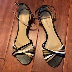 Talbots wedge sandal w/ white, tan & black straps.